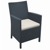 California Wickerlook Resin Patio Chair Dark Gray ISP806