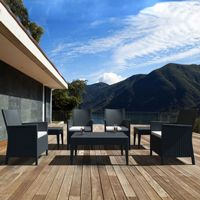 California Wickerlook Resin Patio Seating Set 7 Piece Dark Gray ISP8062S
