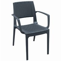 Capri Wickerlook Resin Patio Armchair Dark Gray ISP820