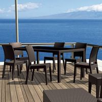 Florida Wickerlook Resin Patio Dining Set 7 Piece Rectangle Brown ISP816S6