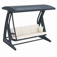 Hawaii Wickerlook Patio Swing with Sunbrella Cushions Dark Gray ISP862
