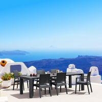 Ibiza Extendable Wickerlook Dining Set 7 piece Dark Gray ISP8101S