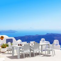 Ibiza Extendable Wickerlook Dining Set 7 piece White ISP8101S