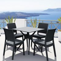 Ibiza Florida Square Patio Dining Set 5 Piece Dark Gray ISP8631S
