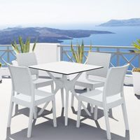 Ibiza Florida Square Patio Dining Set 5 Piece White ISP8631S