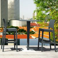 Jamaica Wickerlook Outdoor Bar Set Dark Gray with Square Bar Table 28 inch ISP981S
