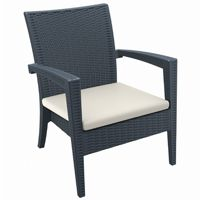 Miami Wickerlook Resin Patio Club Chair Brown with Cushion ISP850