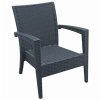 Miami Wickerlook Resin Patio Club Chair Dark Gray ISP850