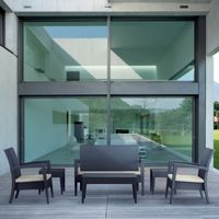 Miami Wickerlook Resin Patio Deepseating Set 6 piece Dark Gray ISP991S