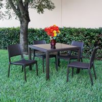 Miami Wickerlook Resin Patio Dining Set 5 Piece Brown with Side Chairs ISP992S