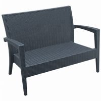 Miami Wickerlook Resin Patio Loveseat Dark Gray ISP845