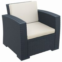 Monaco Wickerlook Resin Patio Club Chair Dark Gray with Cushion ISP831