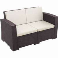 Monaco Wickerlook Resin Patio Loveseat Sofa Brown with Cushion ISP832