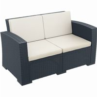 Monaco Wickerlook Resin Patio Loveseat Sofa Dark Gray with Cushion ISP832