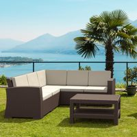 Monaco Wickerlook Resin Patio Sectional Set 6 Piece with Cushion ISP834S1