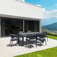 Panama Extendable Patio Dining Set 7 piece Dark Gray ISP8082S