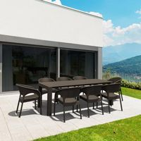 Panama Extendable Patio Dining Set 9 piece Brown ISP8083S