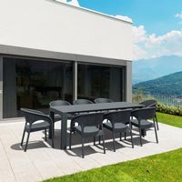 Panama Extendable Patio Dining Set 9 piece Dark Gray ISP8083S