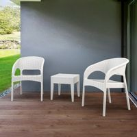 Panama Wickerlook Bistro Set 3 Piece White ISP8081S