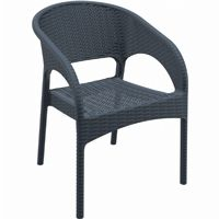 Panama Wickerlook Resin Patio Dining Armchair Dark Gray ISP808