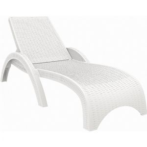 Fiji Wickerlook Resin Outdoor Chaise Lounge White ISP860-WH