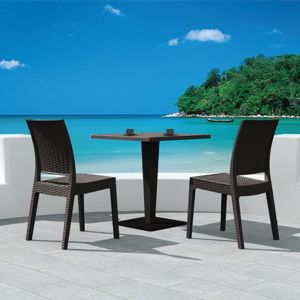 Florida Wickerlook Outdoor Resin Bistro Set Brown with Square Table 28 inch ISP994S