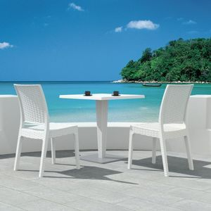 Florida Wickerlook Outdoor Resin Bistro Set White with Square Table 28 inch ISP994S-WH