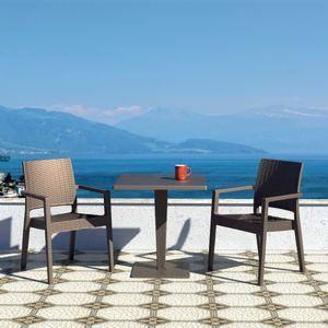 Ibiza Wickerlook Outdoor Resin Bistro Set Brown with Square Table 28 inch ISP993S