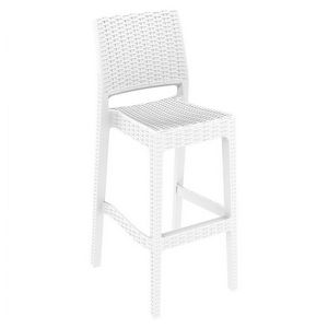 Jamaica Wickerlook Resin Bar Chair White ISP866-WH