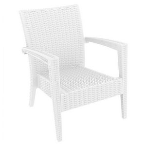 Miami Wickerlook Resin Patio Club Chair White ISP850