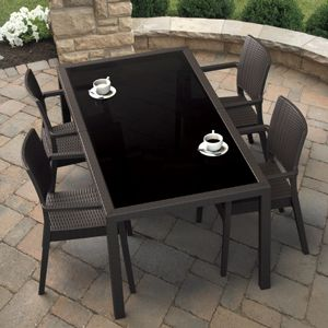 Miami Wickerlook Resin Patio Dining Set 5 Piece Rectangle Brown ISP995S