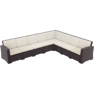 Monaco Wickerlook Resin Patio Corner Sectional 8 Piece with Cushion ISP834-8