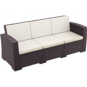 Monaco Wickerlook Resin Patio Sofa XL Brown with Cushion ISP833