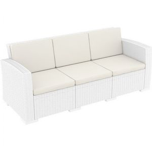 Monaco Wickerlook Resin Patio Sofa XL White with Cushion ISP833
