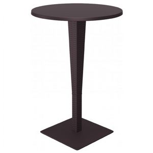 Riva Wickerlook Resin Round Bar Table Brown 28 inch. ISP886