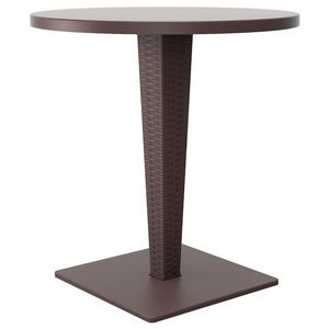 Riva Wickerlook Resin Round Patio Dining Table Brown 28 inch. ISP882