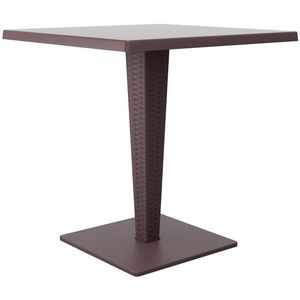 Riva Wickerlook Resin Square Patio Dining Table Brown 28 inch. ISP884
