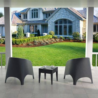 Aruba Wickerlook Resin Balcony Furniture Set 3 Piece Brown ISP8041S-BR