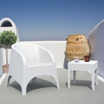 Aruba Wickerlook Resin Balcony Furniture Set 3 Piece White ISP8041S-WH