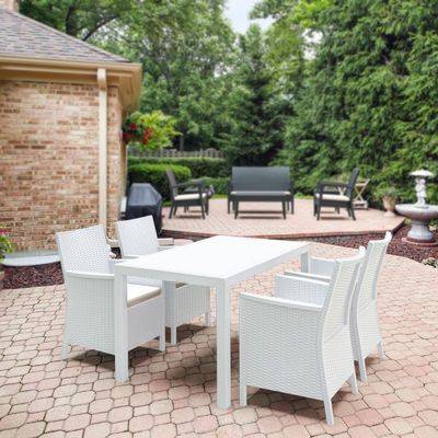 California Wickerlook Resin 55 inch Patio Dining Set 5 Piece White ISP8064S-WH