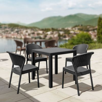 Daytona Wickerlook Square Patio Dining Set 5 Piece Dark Gray ISP8181S-DG