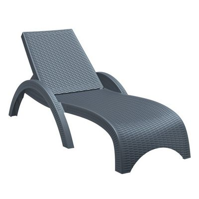 Fiji Wickerlook Resin Outdoor Chaise Lounge Dark Gray ISP860-DG