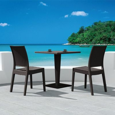 Florida Wickerlook Outdoor Resin Bistro Set Brown with Square Table 28 inch ISP994S-BR
