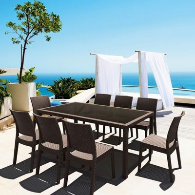 Florida Wickerlook Resin Patio Dining Set 9 Piece Rectangle Brown ISP816S9-BR