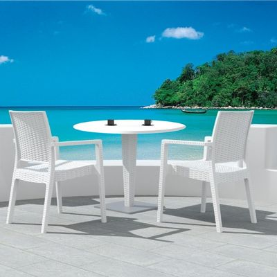 Ibiza Wickerlook Outdoor Resin Bistro Set White with Round Table 28 inch ISP993R-WH