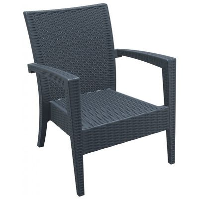 Miami Wickerlook Resin Patio Club Chair Dark Gray ISP850-DG