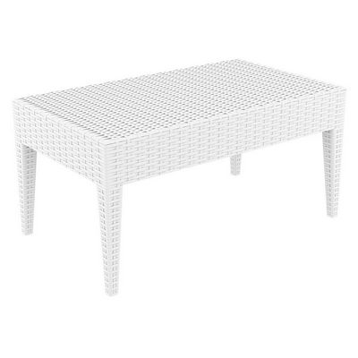 Miami Wickerlook Resin Patio Coffee Table White 36 inch. ISP855-WH
