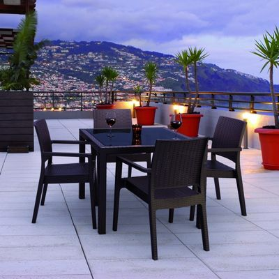 Miami Wickerlook Resin Patio Dining Set 5 Piece Brown ISP990S-BR
