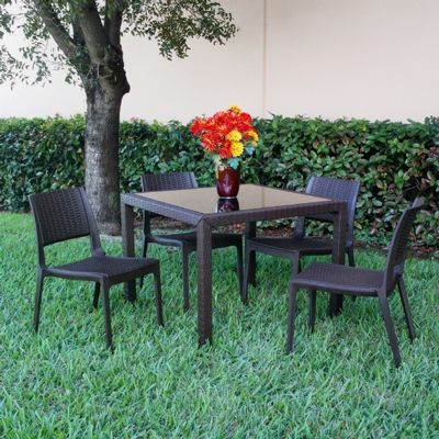 Miami Wickerlook Resin Patio Dining Set 5 Piece Brown with Side Chairs ISP992S-BR