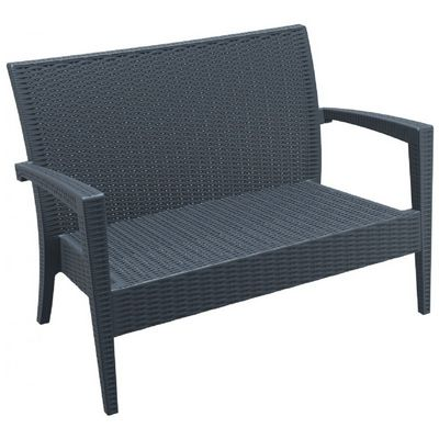Miami Wickerlook Resin Patio Loveseat Dark Gray ISP845-DG